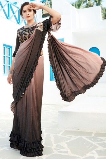 Brown Sequins And Thread Work Lycra Fabric Designer Flare Saree And Blouse