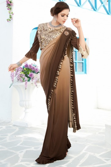 Classic Lycra Fabric Coffee Thread And Sequins Work Flare Saree And Blouse