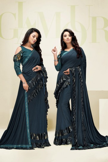 Teal Imported Fabric Designer Flare Work Saree And Blouse
