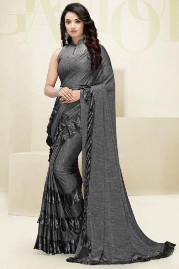 Flare Work Designer Imported Fabric Grey Beautiful Saree And Blouse