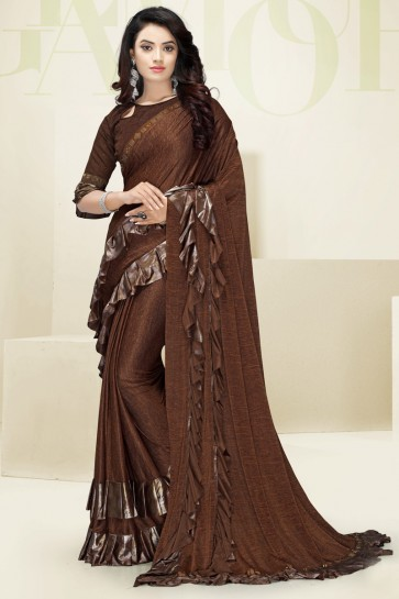 Brown Flare Work Designer Imported Fabric Saree And Blouse