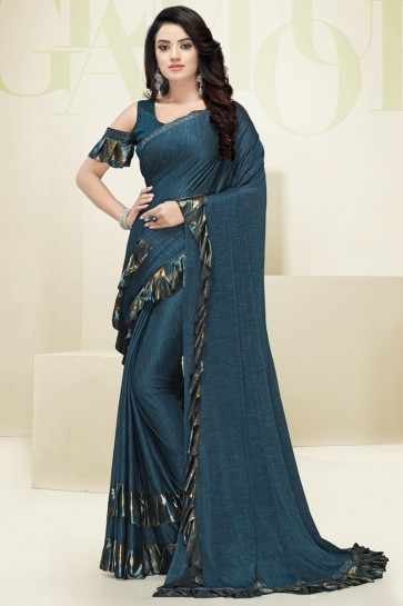 Party Wear Flare Designer Teal Imported Fabric Saree And Blouse