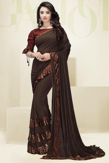 Coffee Imported Fabric Flare Work Designer Lovely Saree And Blouse