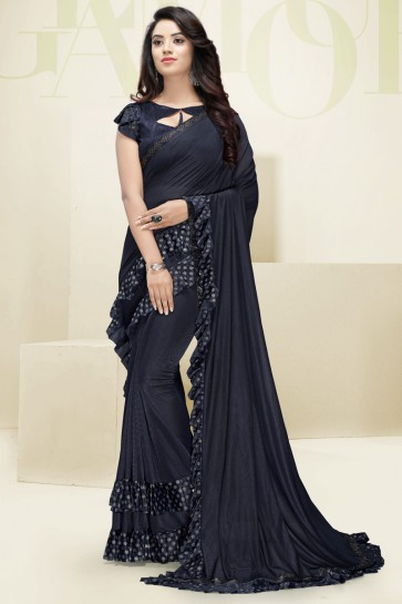 Flare Designer Navy Blue Imported Fabric Excellent Saree And Blouse