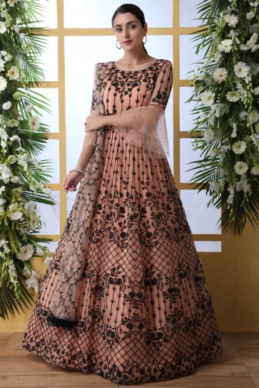 Peach Net Fabric Embroidery And Stone Work Abaya Style Anarkali Suit With Net Dupatta