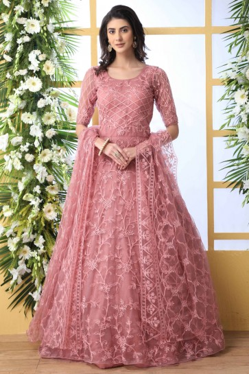 Embroidery And Thread Work Pink Net Fabric Abaya Style Anarkali Suit With Net Dupatta