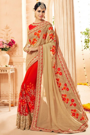 Beige And Red Faux Georgette And Net Fabric Embroidery And Thread Work Saree And Blouse