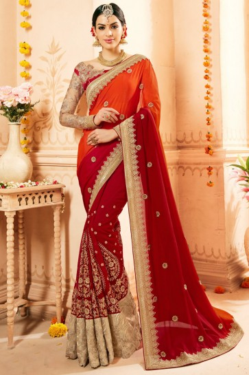 Faux Georgette And Net Fabric Red Embroidery And Thread Work Saree And Blouse