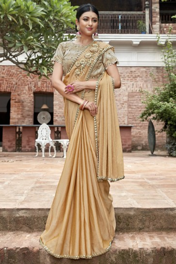 Golden Chinon Chiffon Border And Lace Work Designer Saree With Embroidery Beads Work Blouse