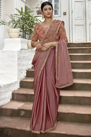 Wine Lace And Border Work Designer Chinon Chiffon Fabric Saree With Embroidered Blouse