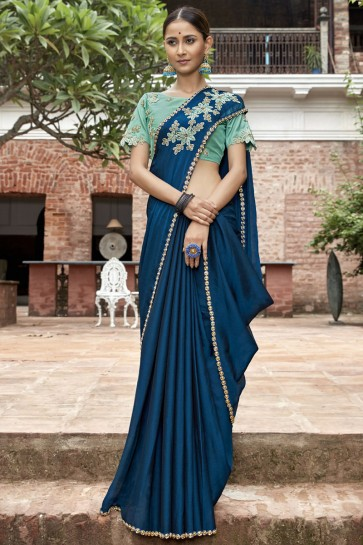 Blue Border And Lace Work Designer Chinon Chiffon0 Fabric Saree With Beads Work Blouse