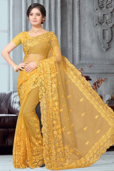 Mustard Net Fabric Embroidered Designer Saree With Banglori Silk Blouse
