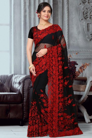 Beautiful Net Fabric Black Embroidered Designer Saree With Banglori Silk Blouse