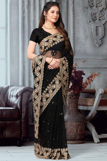 Delightful Embroidery Work Designer Net Fabric Black Saree With Banglori Silk Blouse