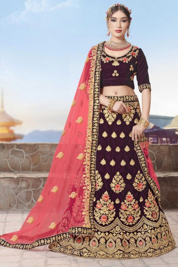 Heavy Designer Stone And Zari Work Purple Velvet Fabric Bridal Lehenga Choli With Net Dupatta