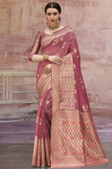 Rust Weaving And Zari Work Cotton Fabric Designer Saree And Blouse