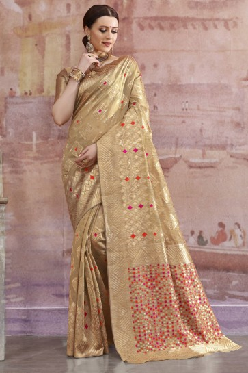 Golden Cotton Fabric Zari And Weaving Work Designer Saree And Blouse