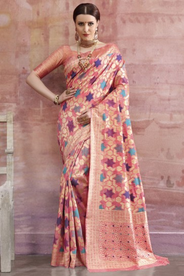 Cotton Fabric Peach Zari And Weaving Work Designer Saree And Blouse