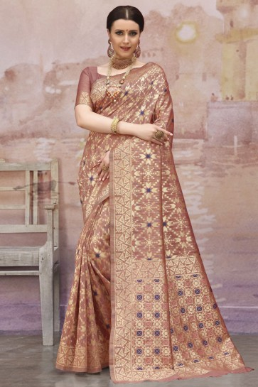 Coffee Cotton Fabric Weaving And Zari Work Classic Saree And Blouse