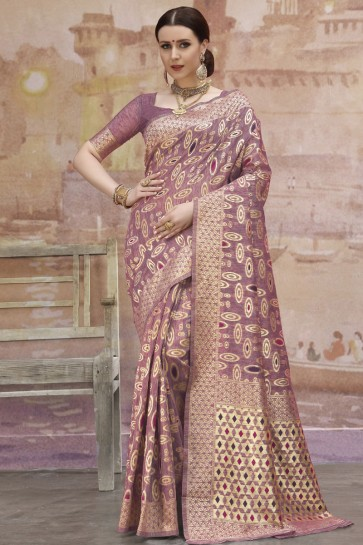 Purple Weaving And Zari Work Cotton Fabric Beautiful Saree And Blouse