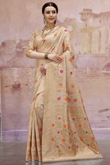 Pleasing Cream Zari And Weaving Work Cotton Saree And Blouse