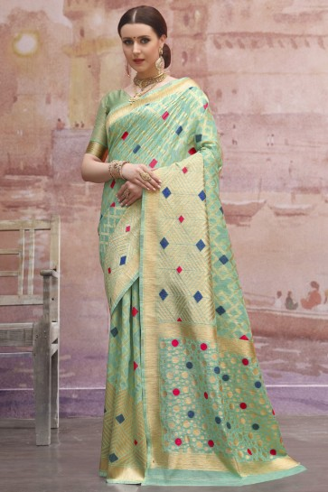 Excellent Light Green Cotton Weaving And Zari Work Saree And Blouse