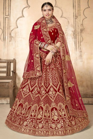 Delightful Red Embroidery And Stone Work Velvet Fabric Lehenga Choli With Net Dupatta