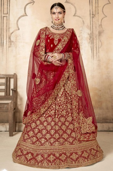 Red Velvet Fabric Embroidery And Stone Work Lehenga Choli With Net Dupatta