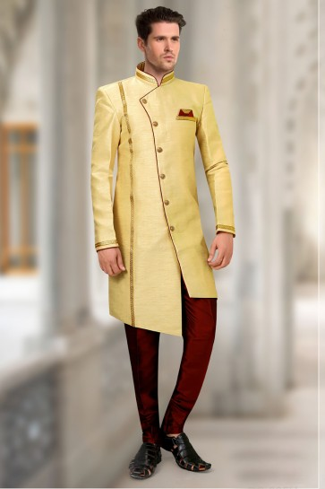 Silk Fabric Yellow Indo Western With Art Silk Bottom