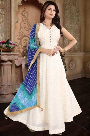 Designer Cream Hand Work Chanderi Abaya Style Anarkali Suit Satin Dupatta