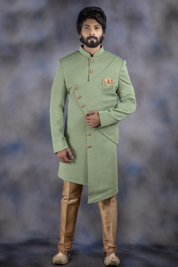 Pista Imported Fabric Indo Western With Dhupion Bottom