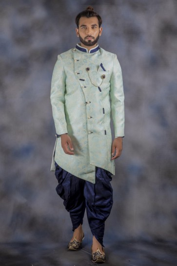 Imported Fabric Pista Indo Western With Dhupion Bottom