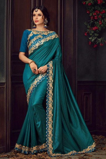 Embroidered And Stone Work Teal Silk Fabric Saree And Blouse