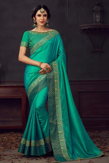 Silk Fabric Embroidered And Stone Work Designer Green Lovely Saree And Blouse