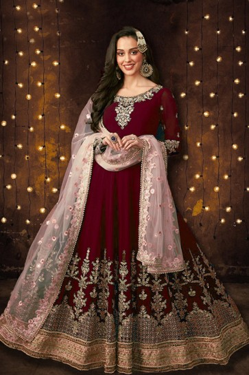 Maroon Embroidered And Stone Work Foux Georgette Anarkali Suit With Net Dupatta