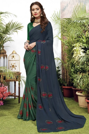 Stunning Navy Blue And Green Georgette Satin Fabric Designer Embroidered Saree And Blouse