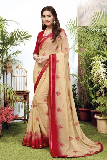 Georgette Satin Fabric Embroidered Designer Cream Lovely Saree And Blouse