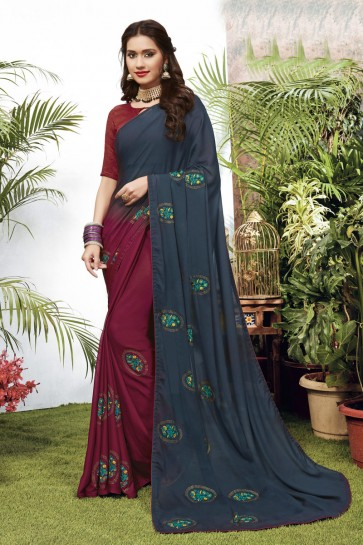 Multi Color Georgette Satin Fabric Embroidered Designer Saree And Blouse