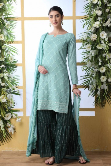 Embroidered And Thread Work Cyan Cotton Fabric Plazzo Suit Nazmin Dupatta
