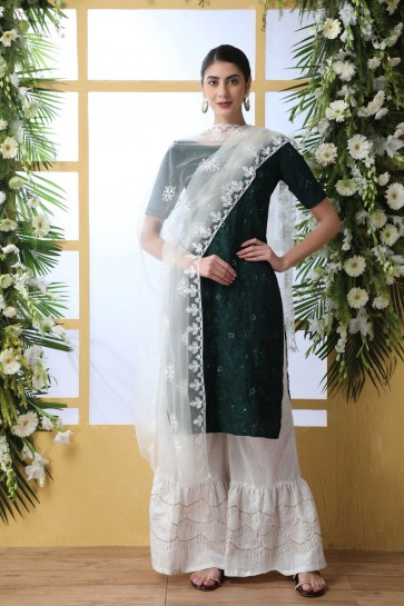 Designer Green Embroidered And Thread Work Cotton Plazzo Suit With Net Dupatta