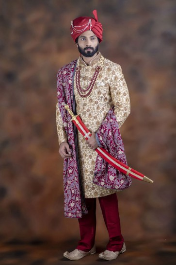 Supreme Cream Jacquard Fabric Sherwani