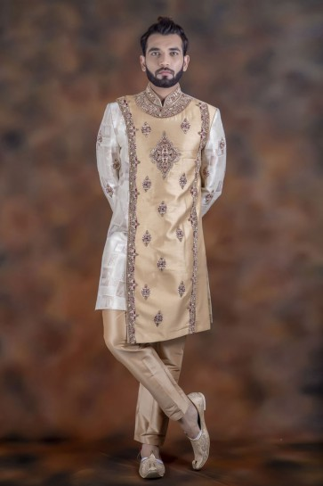 Petty Navy White Jacquard Fabric Sherwani
