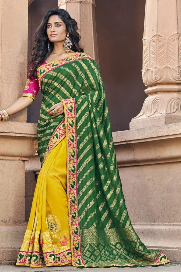 Weaving Work And Embroidered Green And Yellow Silk Fabric Saree And Blouse