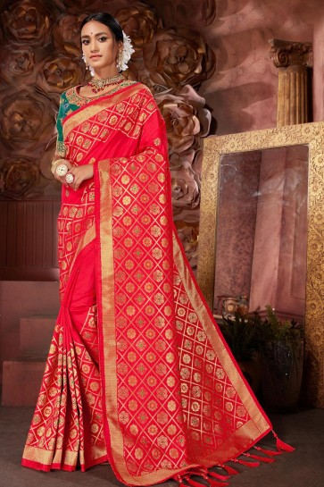 Stunning Red Banarasi Silk Fabric Designer Embroidered And Jacquard Work Saree And Blouse