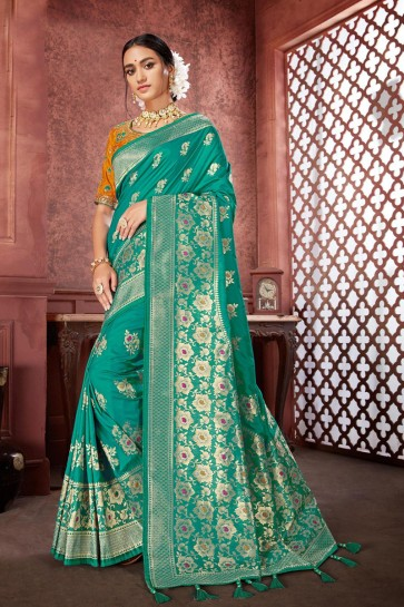 Banarasi Silk Fabric Embroidered And Jacquard Work Designer Rama Lovely Saree And Blouse