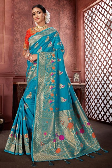 Embroidered And Jacquard Work Sky Blue Banarasi Silk Fabric Saree And Blouse