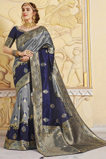 Multi Color Silk Fabric Embroidered And Weaving Work Designer Saree And Blouse