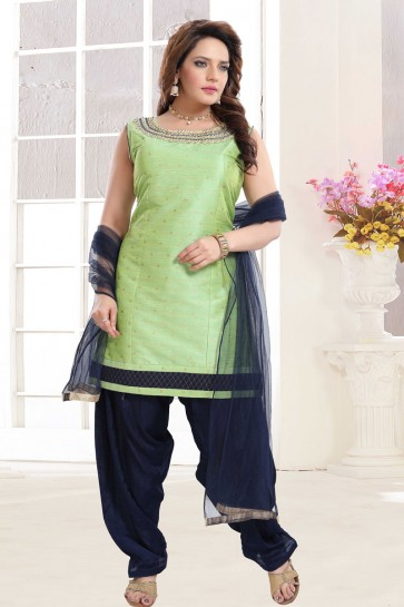 Silk Pista Embroidered Patiala Suit With Net Dupatta