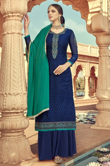 Embroidered Blue Viscose Fabric Plazzo Suit And Santoon Dupatta