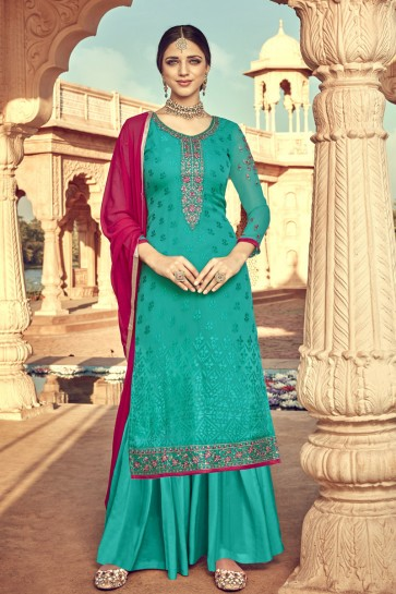 Viscose Designer Sea Green Embroidered Plazzo Suit And Santoon Dupatta